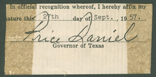 Autographs: PRICE DANIEL - FRAGMENT SIGNED 09/27/1957