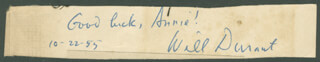 WILL DURANT - AUTOGRAPH SENTIMENT SIGNED 10/22/1955