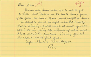 PRESIDENT RONALD REAGAN - AUTOGRAPH LETTER SIGNED 06/19/1967