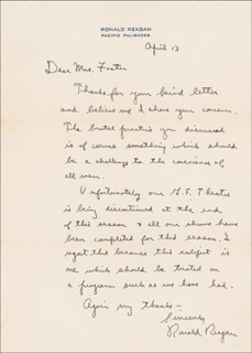 PRESIDENT RONALD REAGAN - AUTOGRAPH LETTER SIGNED 04/13