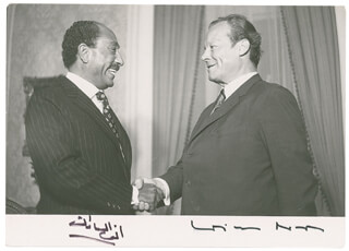 PRESIDENT ANWAR SADAT (EGYPT) - AUTOGRAPHED SIGNED PHOTOGRAPH CO-SIGNED BY: CHANCELLOR WILLY BRANDT (GERMANY) - HFSID 280277