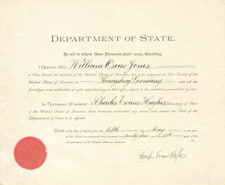 CHIEF JUSTICE CHARLES E HUGHES - DIPLOMATIC APPOINTMENT SIGNED 05/05/1924