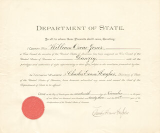 CHIEF JUSTICE CHARLES E HUGHES - DIPLOMATIC APPOINTMENT SIGNED 11/19/1923