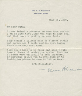 FIRST LADY ELEANOR ROOSEVELT - TYPED LETTER SIGNED 07/26/1936