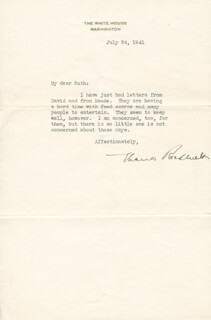 FIRST LADY ELEANOR ROOSEVELT - TYPED LETTER SIGNED 07/24/1941