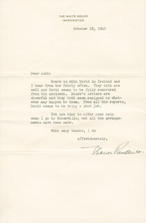 FIRST LADY ELEANOR ROOSEVELT - TYPED LETTER SIGNED 10/18/1940
