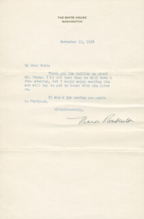 FIRST LADY ELEANOR ROOSEVELT - TYPED LETTER SIGNED 11/15/1938