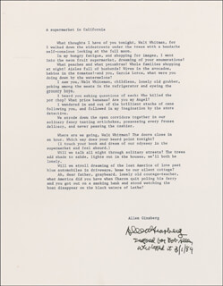 Autographs: ALLEN GINSBERG - INSCRIBED TYPESCRIPT SIGNED 03/01/1989
