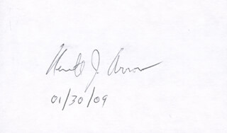 Autographs: KENNETH J. ARROW - SIGNATURE(S) 01/30/2009