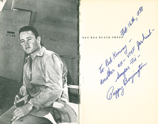 COLONEL GREG PAPPY BOYINGTON - INSCRIBED BOOK SIGNED 02/16/1958