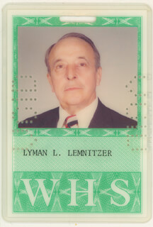 Autographs: GENERAL LYMAN L. LEMNITZER - EPHEMERA UNSIGNED