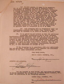 GARY COOPER - DOCUMENT SIGNED 12/14/1945