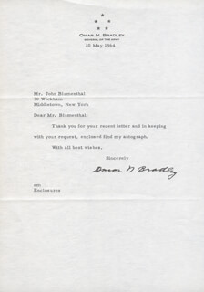 Autographs: GENERAL OMAR N. BRADLEY - TYPED LETTER SIGNED 05/20/1964