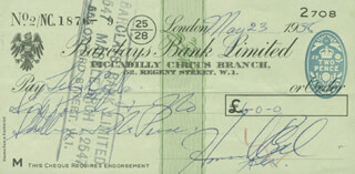 HOWARD KEEL - AUTOGRAPHED SIGNED CHECK 05/23/1958