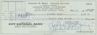 BILL BIXBY - AUTOGRAPHED SIGNED CHECK 05/15/1970