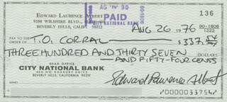 EDDIE ALBERT - AUTOGRAPHED SIGNED CHECK 08/26/1976