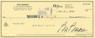 BOB BARKER - AUTOGRAPHED SIGNED CHECK 10/10/1984