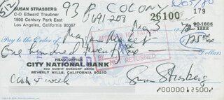 SUSAN STRASBERG - AUTOGRAPHED SIGNED CHECK 08/03/1972