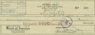 DORIS DAY - AUTOGRAPHED SIGNED CHECK 05/18/1950 CO-SIGNED BY: JEROME BERNARD ROSENTHAL