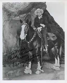 GENE AUTRY - AUTOGRAPHED INSCRIBED PHOTOGRAPH 03/17/1985