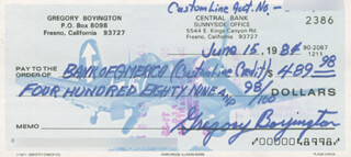 COLONEL GREG PAPPY BOYINGTON - AUTOGRAPHED SIGNED CHECK 06/15/1984