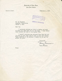 TERRY BRENNAN - TYPED LETTER SIGNED 02/04/1958