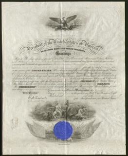 Autographs: PRESIDENT GROVER CLEVELAND - NAVAL APPOINTMENT SIGNED 10/31/1896 CO-SIGNED BY: HILARY A. HERBERT
