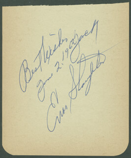 ENOS SLAUGHTER - AUTOGRAPH SENTIMENT SIGNED 06/02/1962