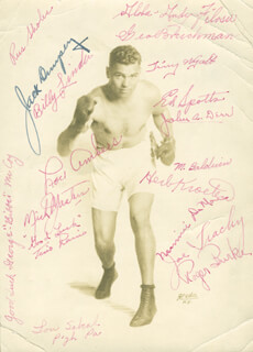 JACK DEMPSEY - PRINTED PHOTOGRAPH SIGNED IN INK CO-SIGNED BY: LOU AMBERS, ANDY FILOSA, TINY WYATT, JOHN DERR, HERB KROETEN, MICK MASTERS, TINO RAINO, JOE TRACHY, BIBBER (GEORGE) MCCOY, RUSS (RUSSELL) SHOLES, GEORGE BRUCKMAN