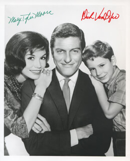 THE DICK VAN DYKE TV CAST - AUTOGRAPHED SIGNED PHOTOGRAPH CO-SIGNED BY: DICK VAN DYKE, MARY TYLER MOORE