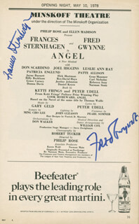 ANGEL BROADWAY CAST - SHOW BILL SIGNED CO-SIGNED BY: FRED GWYNNE, FRANCES STERNHAGEN