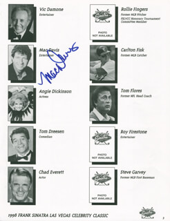 MAC DAVIS - PROGRAM PAGE SIGNED