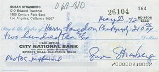 SUSAN STRASBERG - AUTOGRAPHED SIGNED CHECK 05/23/1972