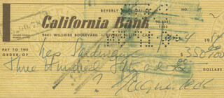 GREGORY PECK - AUTOGRAPHED SIGNED CHECK 06/04/1954