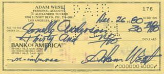 ADAM WEST - AUTOGRAPHED SIGNED CHECK 12/26/1980