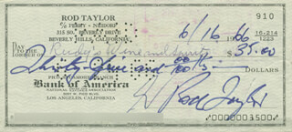 ROD TAYLOR - AUTOGRAPHED SIGNED CHECK 06/16/1966