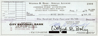 BILL BIXBY - AUTOGRAPHED SIGNED CHECK 08/07/1970 CO-SIGNED BY: MURRAY A. NEIDORF