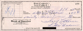 RORY CALHOUN - AUTOGRAPHED SIGNED CHECK 08/04/1964 CO-SIGNED BY: LITA BARON CALHOUN