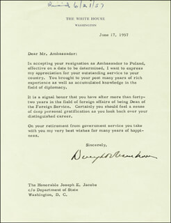 PRESIDENT DWIGHT D. EISENHOWER - TYPED LETTER SIGNED 06/17/1957