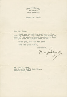 MARY PICKFORD - TYPED LETTER SIGNED 08/20/1935