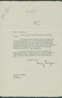 MARY PICKFORD - TYPED LETTER SIGNED