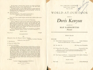DORIS KENYON - PROGRAM SIGNED CIRCA 1936