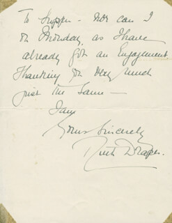 RUTH DRAPER - AUTOGRAPH LETTER SIGNED