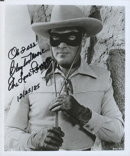 CLAYTON THE LONE RANGER MOORE - AUTOGRAPHED SIGNED PHOTOGRAPH 12/25/1985