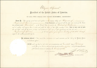 PRESIDENT ULYSSES S. GRANT - CIVIL APPOINTMENT SIGNED 02/20/1874 CO-SIGNED BY: HAMILTON FISH