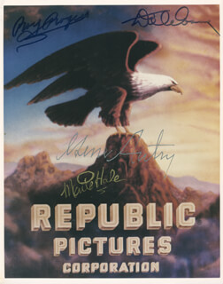 REPUBLIC PICTURES - AUTOGRAPHED SIGNED PHOTOGRAPH CO-SIGNED BY: MONTE HALE, DALE EVANS, GENE AUTRY, ROY ROGERS