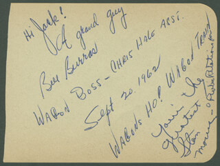 WAGON TRAIN TV CAST AND CREW - AUTOGRAPH NOTE SIGNED 09/20/1962 CO-SIGNED BY: BILL BURRAS, STAN MORESS