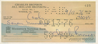 CHARLES BRONSON - AUTOGRAPHED SIGNED CHECK 09/13/1976