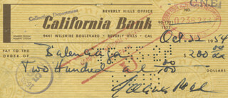GREGORY PECK - AUTOGRAPHED SIGNED CHECK 10/22/1954
