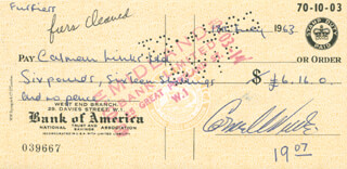 CORNEL WILDE - AUTOGRAPHED SIGNED CHECK 07/18/1963